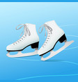 pair of white classic ice skates on blue ice vector image