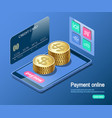 payment online mobile phone and credit card vector image