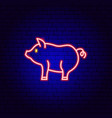 pig pork neon sign vector image