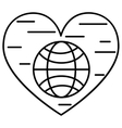 Planet and heart line icon vector image
