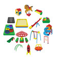 playground cartoon icons vector image vector image
