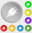 plug icon sign Symbol on eight flat buttons vector image