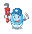 plumber oxygen mask mascot cartoon vector image