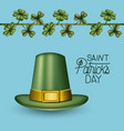 poster saint patricks day with green top hat and vector image vector image