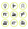 set round icons of compressor and accessories vector image vector image