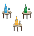 smiling funny glass and bottle on the table vector image vector image