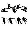 snowboard and ski jumpers vector image vector image