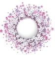 Stylized pink flowers frame vector image