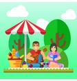 Summer picnic Young family happy couple holiday vector image vector image