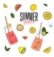summer set with lemonade jar lemons mint vector image