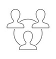 teamwork outline icon on white vector image vector image