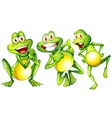 Three smiling frogs vector image vector image
