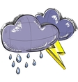 Two clouds with lightnings and rain drops vector image vector image