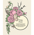 Vintage round border bouquet of flowers vector image vector image