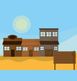 western town with wooden houses vector image