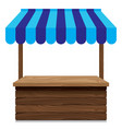 wooden market stall with blue awning on white