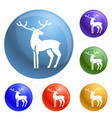 xmas deer icons set vector image