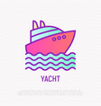 yacht on waves thin line icon vector image