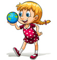 A young girl holding a globe vector image