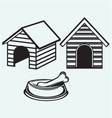 Dog bowl with bone Dog house vector image