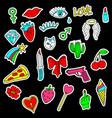 colorful set of doodle fashion patch badges vector image