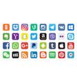 32 logos set popular social media icons vector image