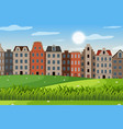 an outdoor scene with amsterdam house vector image vector image