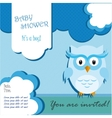 Baby shower card design with owl vector image vector image