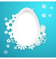 Background with egg and paper flowers on blue vector image