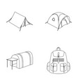backpack and other kinds of tentstent set vector image vector image