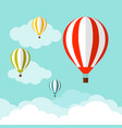 balloon in the sky with clouds flat cartoon vector image vector image