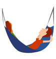 boy in a hammock on white background vector image vector image