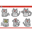 cat emotions cartoon set vector image vector image