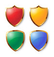 collection of colorful shields with golden frames vector image