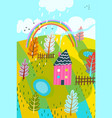 countryside summer house background kids drawing vector image vector image