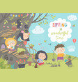 cute cartoon kids are gardening in spring park vector image vector image