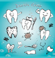 dental set - tooth past tooth brush and dental vector image