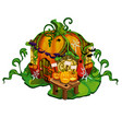 fairy tale house made out of pumpkins home of vector image vector image