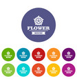 flower decoration icons set color vector image vector image