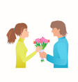 guy give girl bouquet on the date vector image