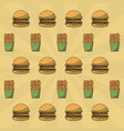 hamburger and french fries background vector image