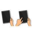hands holing tablet computer with blank screen vector image vector image
