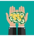 Hands with golden coins and banknotes vector image vector image