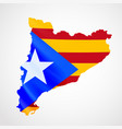 hanging catalonia flag in form map catalonia vector image