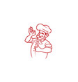 happy chef sign logo vector image vector image