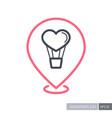 heart air balloon thin line pin map icon vector image vector image