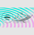 hockey player shoots puck with a hockey stick vector image vector image