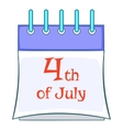 Independence day calendar icon cartoon style vector image