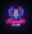 karaoke club logo in neon style neon sign bright vector image vector image