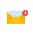 mail envelope icon with documents email send vector image